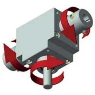 Winkelgetriebe 66/5-C mit 3 Ausgängen Rückwärts