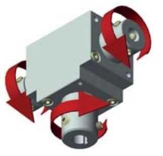 Winkelgetriebe 66/5-D mit 3 Ausgängen durchg. HW