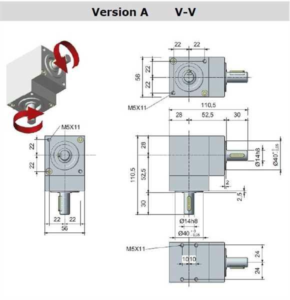Winkelgetriebe 66/5-A mit 2 Ausgängen
